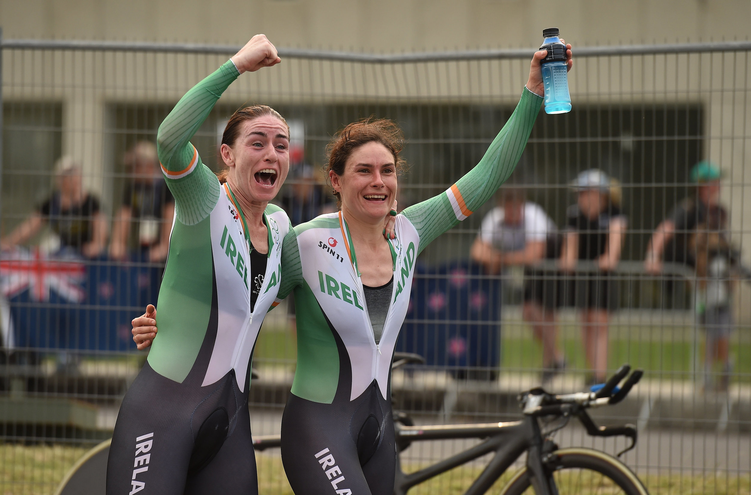 Cycling: Katie-George Dunlevy & Eve McCrystal when they realised they won Gold in the Women's B Road Time Trial