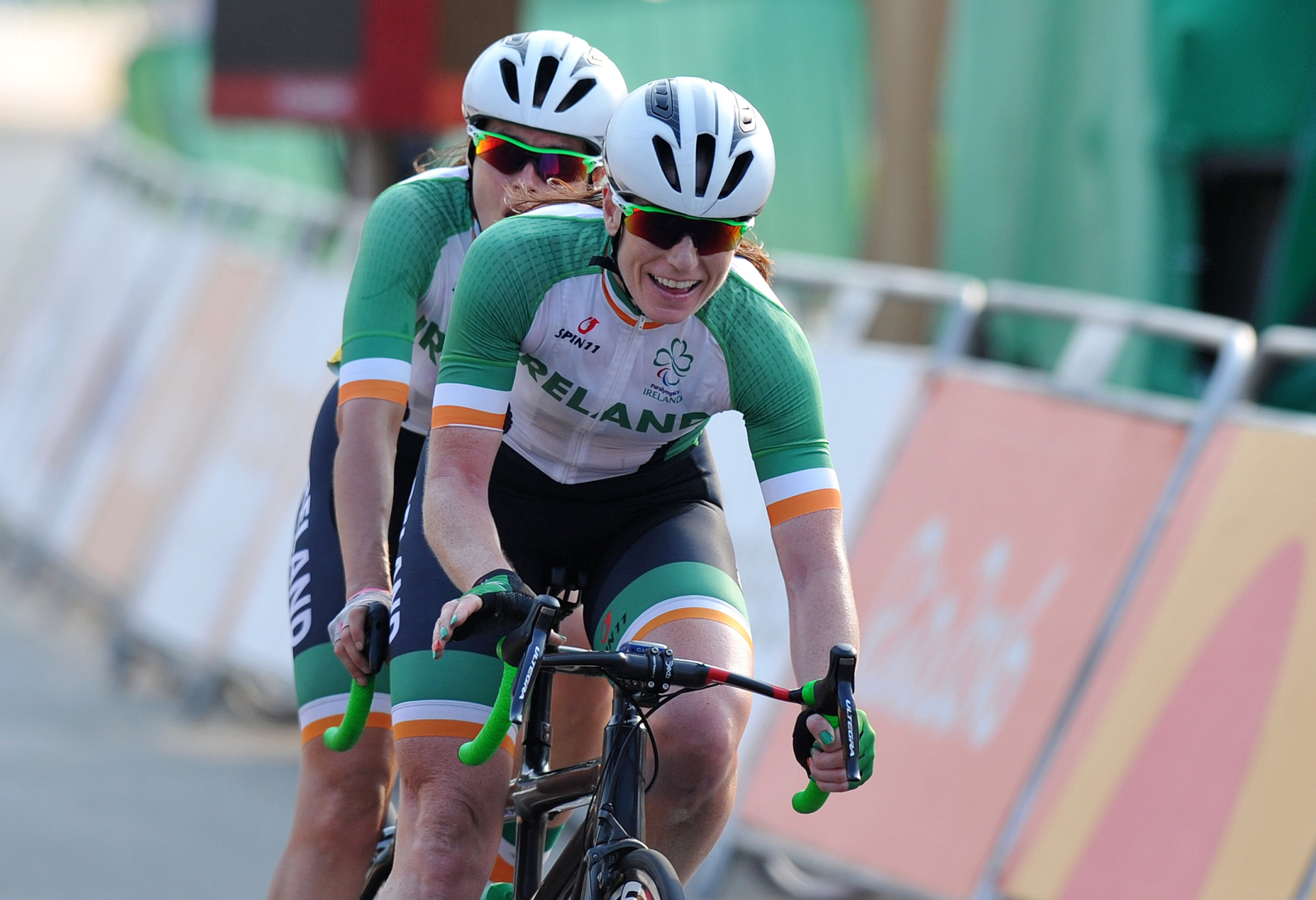 Cycling: Katie-George Dunlevy and Pilot Eve McCrystal complete in the Women's B Road Race