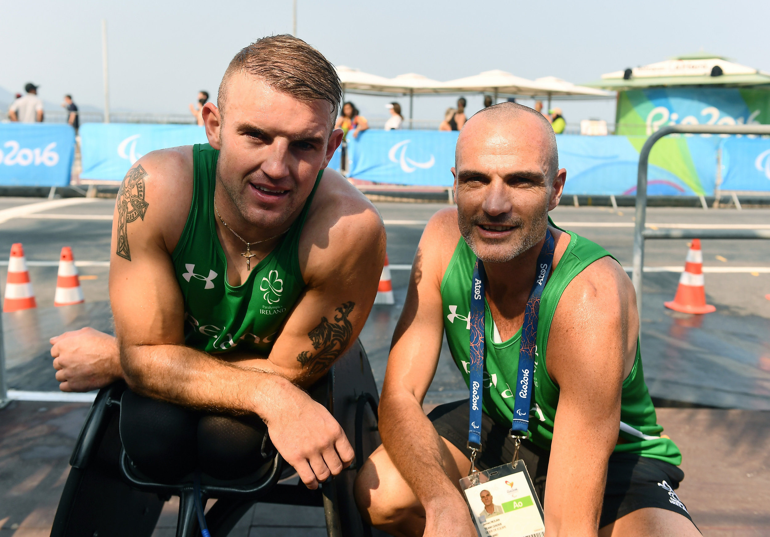 Athletics: Patrick Monahan with Team Lead James Nolan after the T53 Marathon