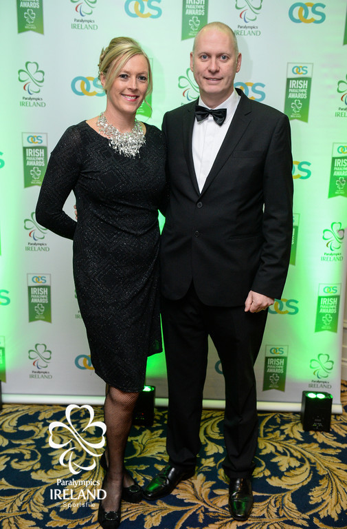 John and Aisling Rooney, representing FloGas, arrive at the OCS Irish Paralympic Awards