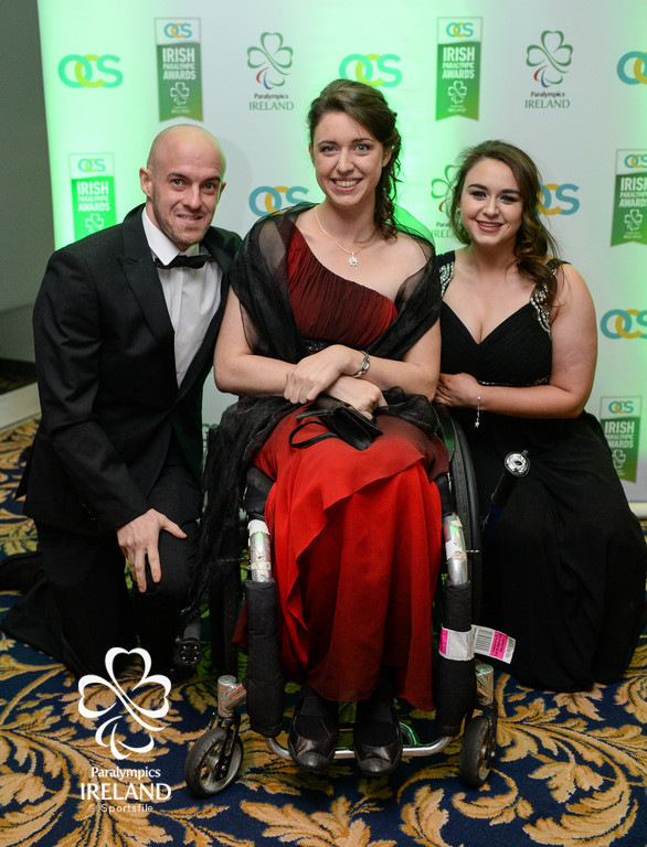 David Redmond, Helen Kearney and Lydia Bagge arrive at the OCS Irish Paralympic Awards