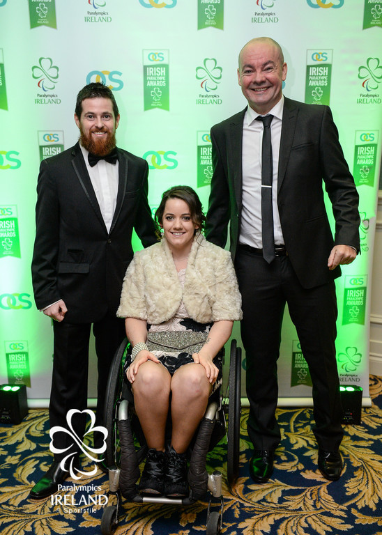 Phelim Lynch, Ciara Staunton and Enda Smith arrive at the OCS Irish Paralympic Awards