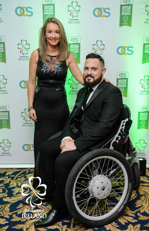 Phillip and Julie Eaglesham arrive at the OCS Irish Paralympic Awards