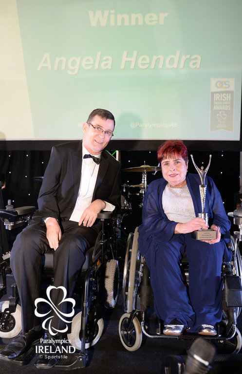 Angela Hendra, who was honoured as the Irish Paralympic Order, with Paralympics Ireland President Jimmy Gradwell, at the OCS Irish Paralympic Awards