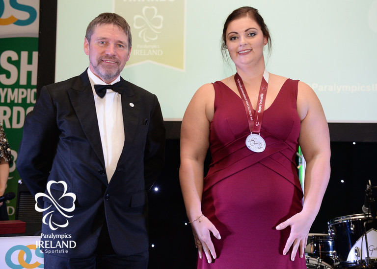 Orla Barry with her silver medal for discus after being upgraded from bronze during the 2015 IPC World Championships in Doha pictured with 2016 Chef de Mission Denis Toomey at the OCS Irish Paralympic Awards