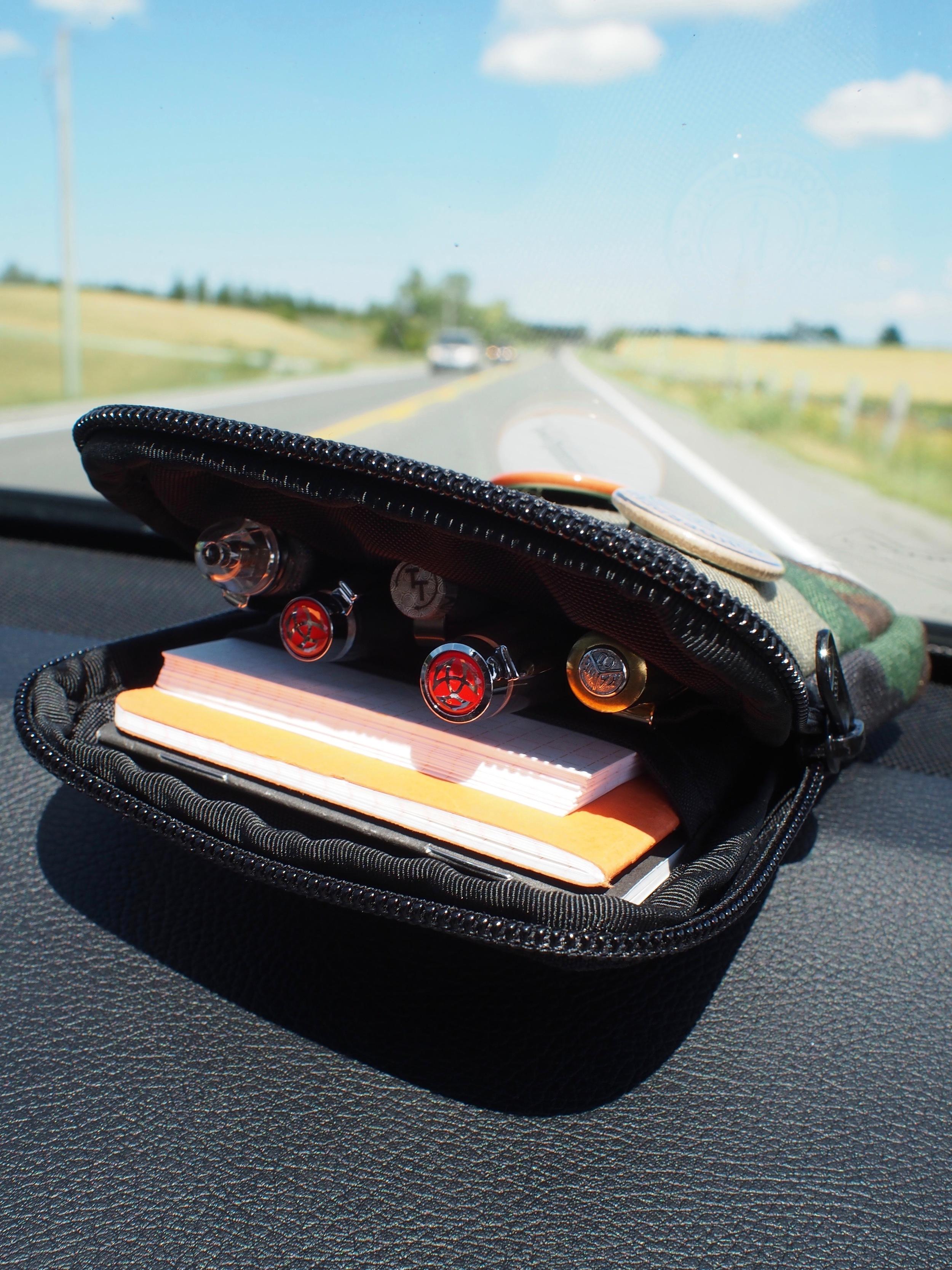 Pens from L to R: Platinum 3776 Sai, TWSBI Vac Mini, Tactile Turn Gist,TWSBI 580, Kaweco Brass Sport