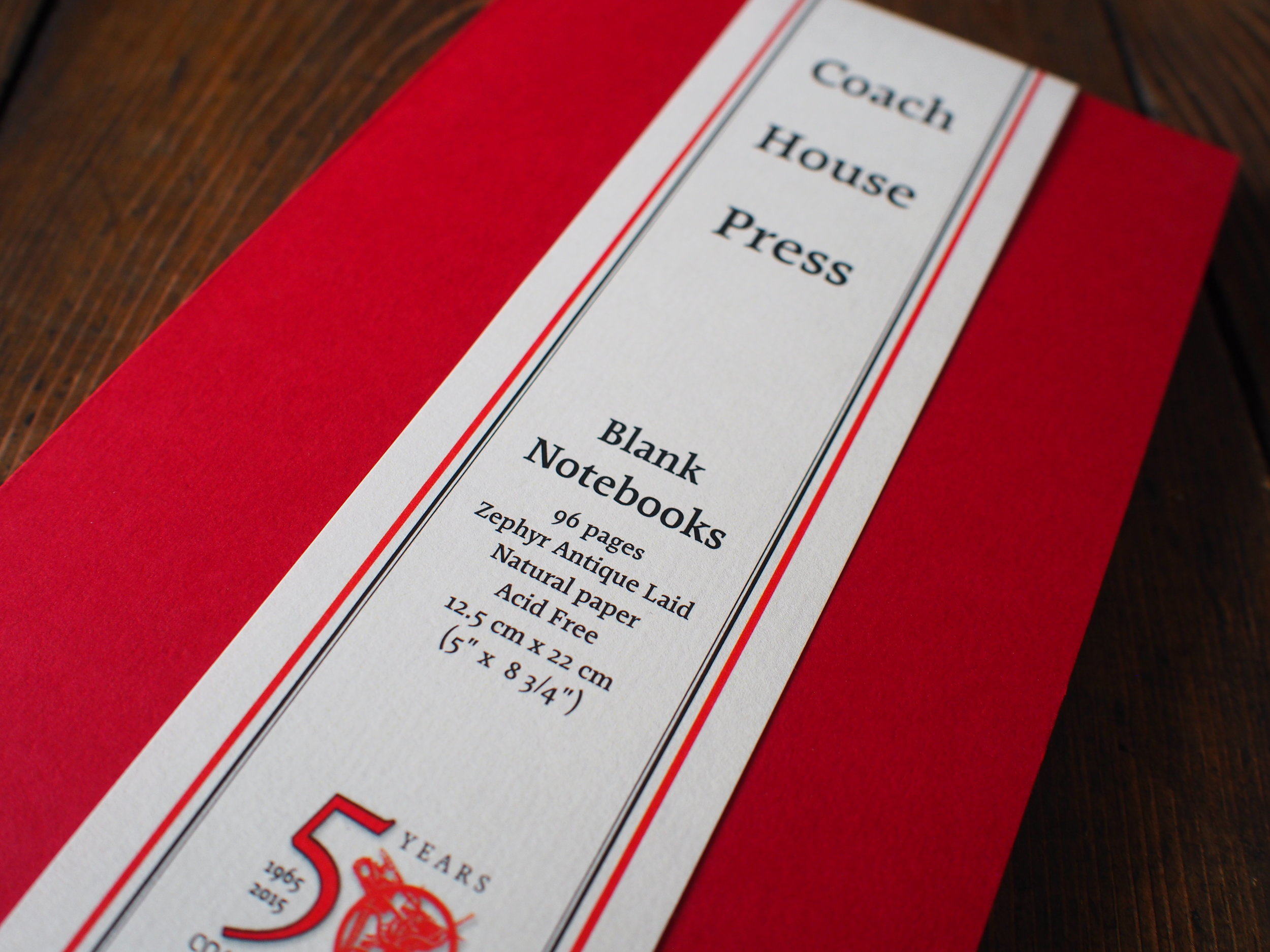 Coach House Press - Red Softcover Blank Laid Paper Notebook