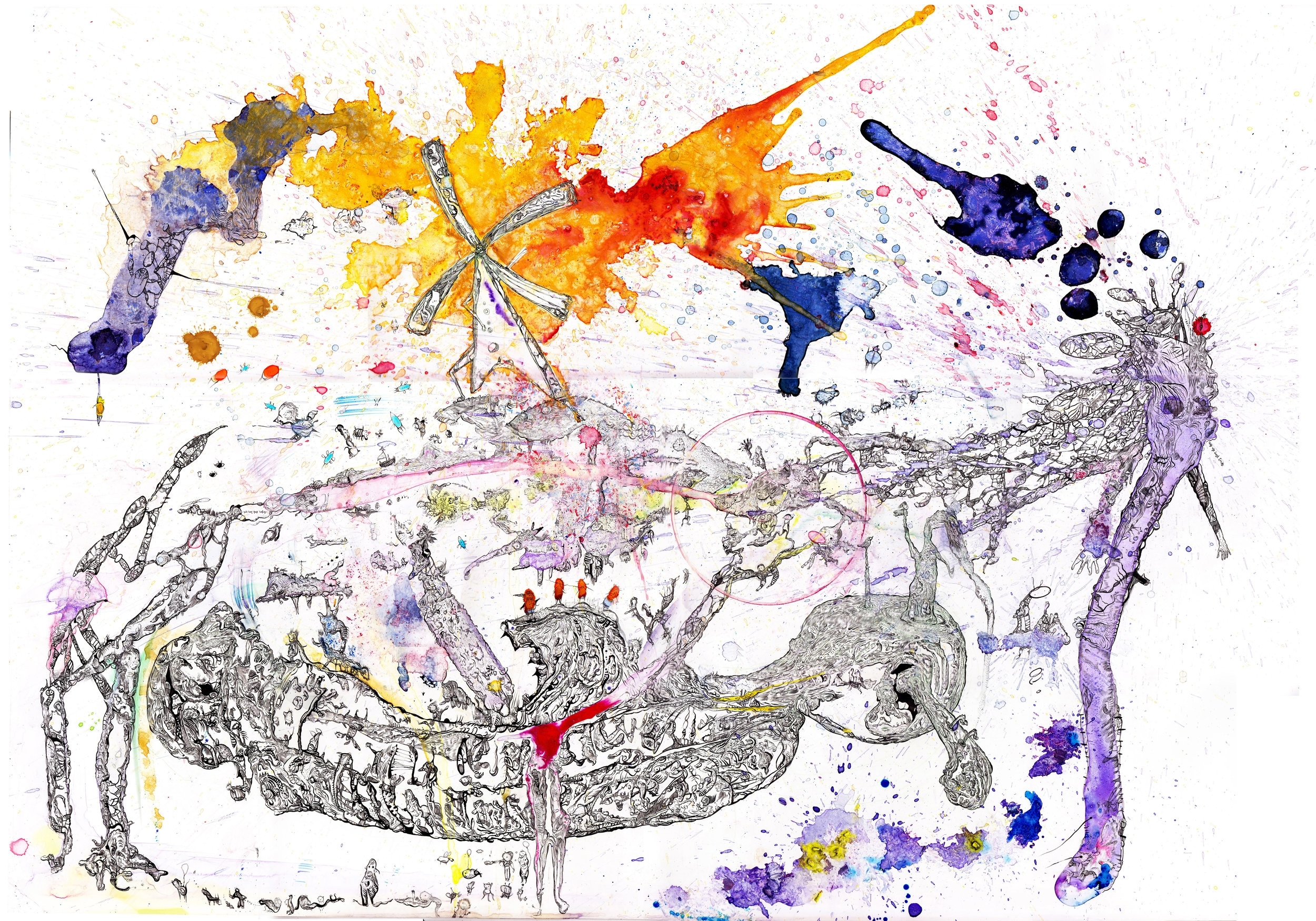 "Les harmonies salvatrices Pen & Ink & Water Color on Paper 41"" x 28"" 2017"