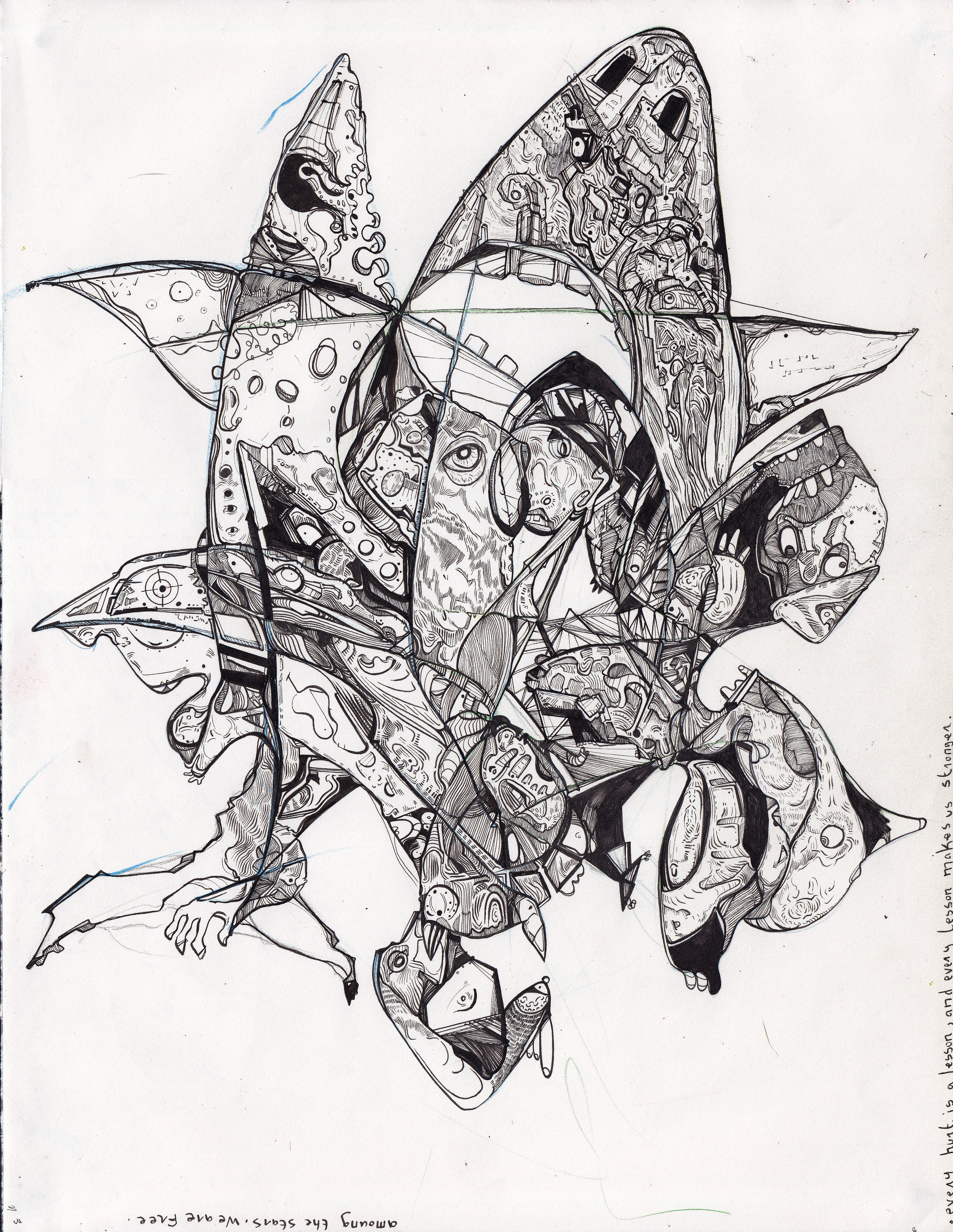 """La gang de sequins aux dents perdus  Pen & Ink on Paper • 11"""" x 17"""" • 2015-16 Drawing Size: 11"""" H x 17 W"""" x 0.5 in"""