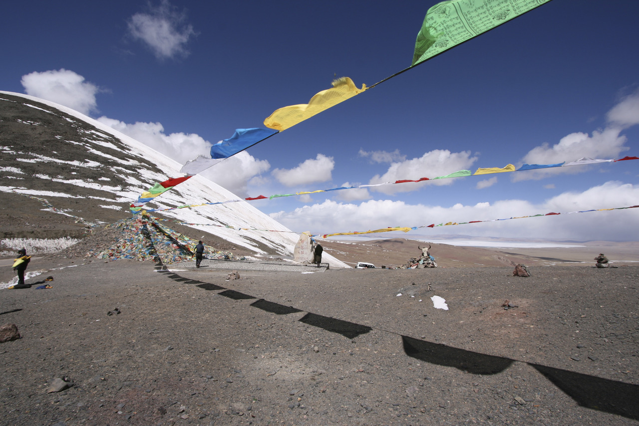 Prayer flags at the Kong-La pass in Tibet.