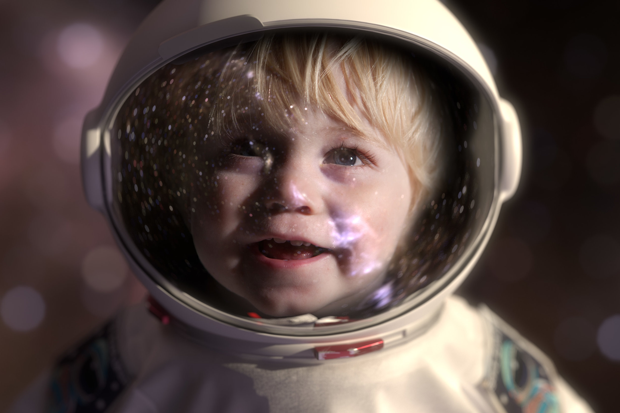Toddler in space