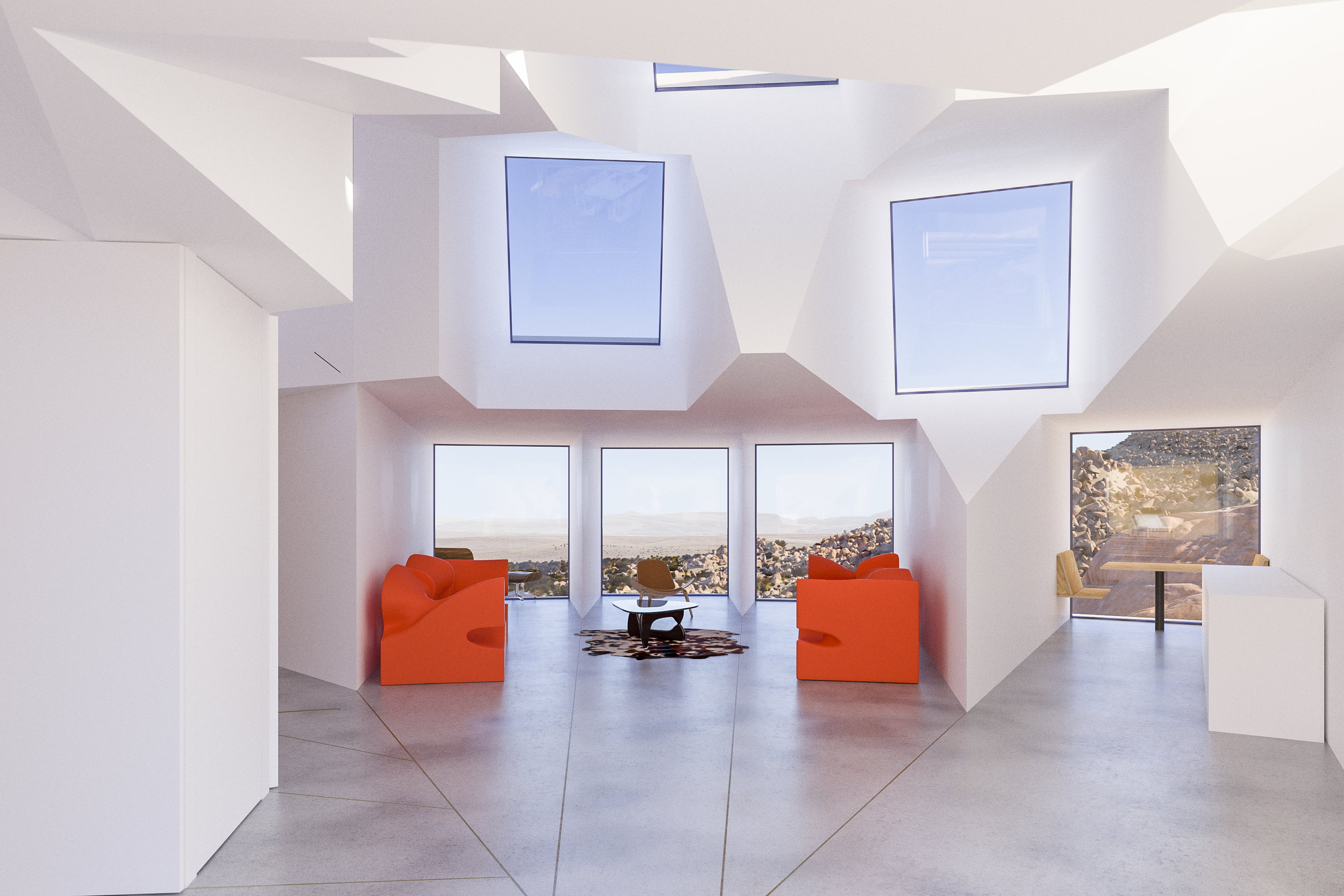 Joshua Tree Residence living room and kitchen