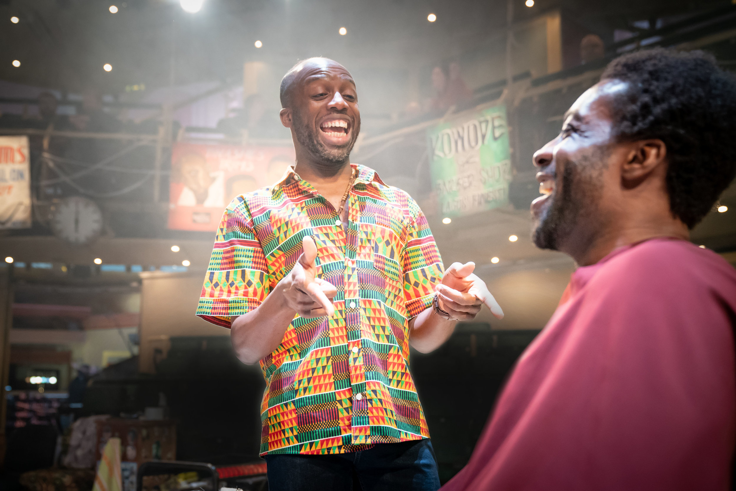 Jo Servi and Emmanuel  Ighodaro in Barber Shop Chronicles.  Photography by Marc Brenner..jpg