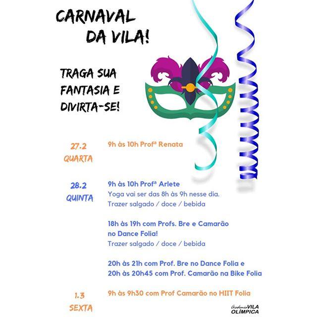 A FOLIA CHEGOU! Prepare as fantasias e #VemPraVila pular #carnaval!