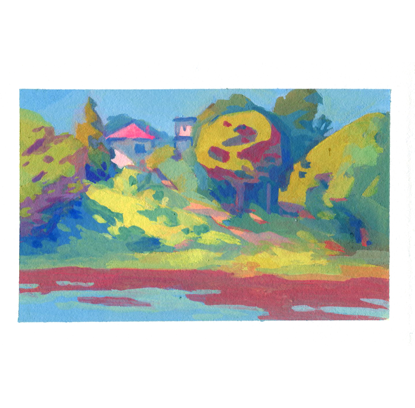 Home on a Hill, Colours across a Lake
