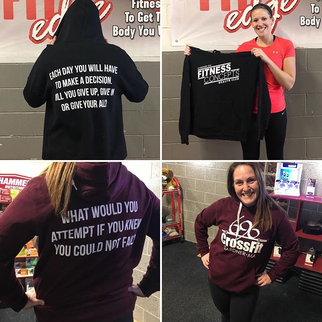 Congratulations to our winners who submitted their best quotes for the backs of our BRAND NEW Fitness Concepts & CrossFit 696 sweatshirts! 😍😍 limited quantity - available TOMORROW MORNING at 8am!
