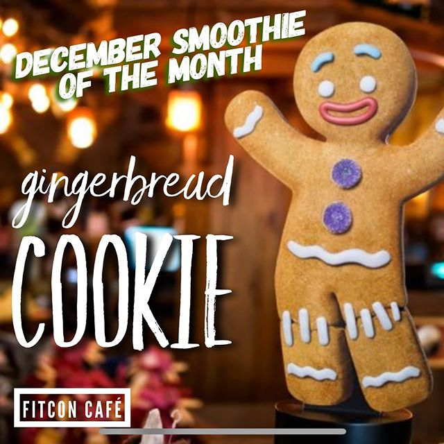 Happy December! Time to get in the spirit with our Gingerbread Cookie for this months smoothie special! $5 and open to members and non-members! Want a healthy fill me up try one today! #fitnessconceptshealthclub #fitnessconcepts #fitconcafe #gingerbreadcookie #smoothieofthemonth #tistheseason #proteinshake