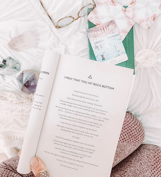 "This poem is everything. Sometimes we have to hit our lowest points in order to grow. Sometimes we have to break completely in order to be put back together. Sometimes we have to go through darkness to find our light. 💖 ⠀⠀⠀⠀⠀⠀⠀⠀⠀ I know I did, and I know that's what has made me into the woman I'm becoming today. And that's why all these words hit so close to home to me tonight 💫 ⠀⠀⠀⠀⠀⠀⠀⠀⠀ ""I pray that you hit rock bottom. ⠀⠀⠀⠀⠀⠀⠀⠀⠀ I pray that you choose to gather up the pieces. ⠀⠀⠀⠀⠀⠀⠀⠀⠀ I pray for the return of you."" ⠀⠀⠀⠀⠀⠀⠀⠀ ⠀⠀⠀⠀⠀⠀⠀⠀⠀ ⠀⠀⠀⠀⠀⠀⠀⠀⠀ ⠀⠀⠀⠀⠀⠀⠀⠀⠀ Photo: @sarah.schott"