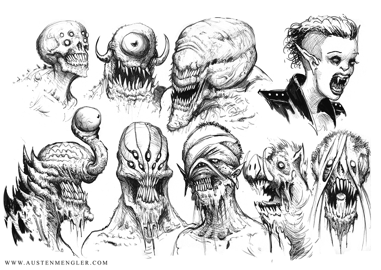 Scary Sketches The Art Of Austen Mengler