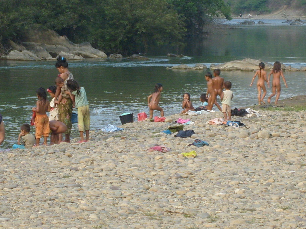 Bath time, fishing-time, dishwashing time, and laundry time in the Mekong River.