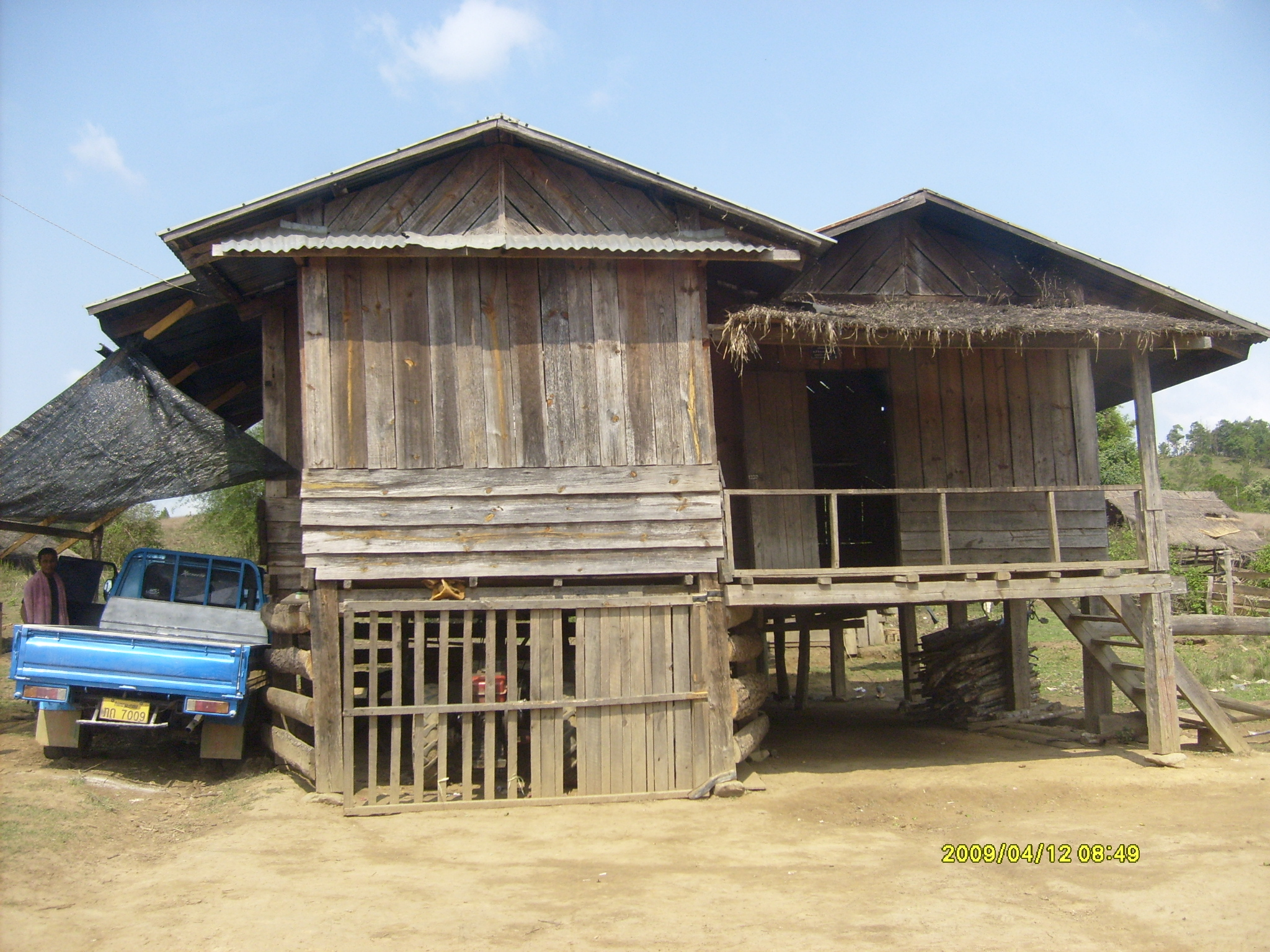 Houses are built on stilts, and the livestock live beneath. This structure helps protect against earthquake damage, and also is used for spiritual reasons.