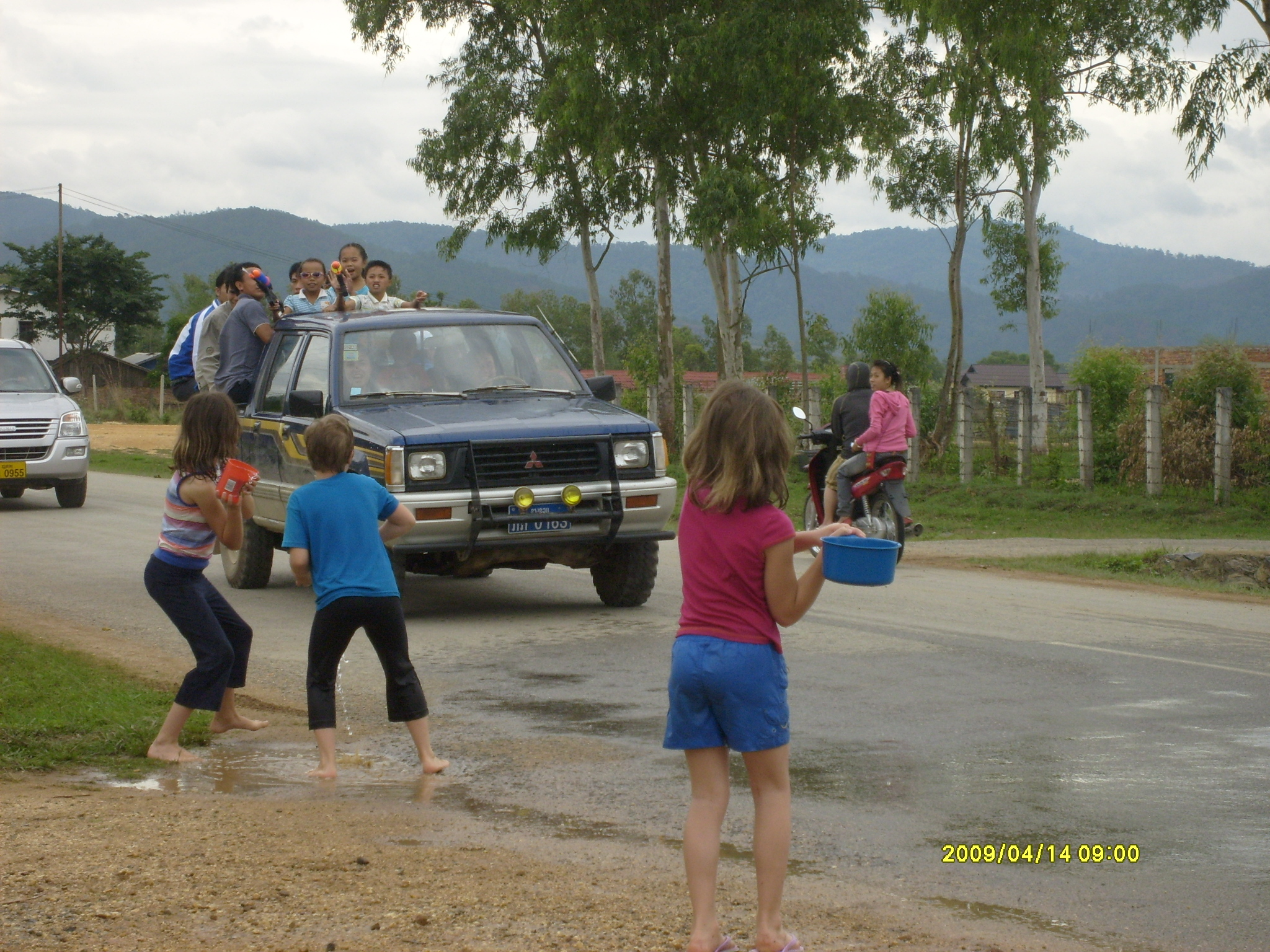The Sankran Festival is the Festival of Water. It is celebrated for three days, during which the entire  country  participates in a nation-wide waterfight. Groups of children driving by would soak us as we, in turn, hurled water from pots and pans at them.