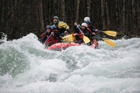 Our rafting trip was conveniently planned in March... just after all the snow had melted from the mountains, and the Chilliwack River was RAGING. Our guide told us the rafts were clocking it at a Level 5.