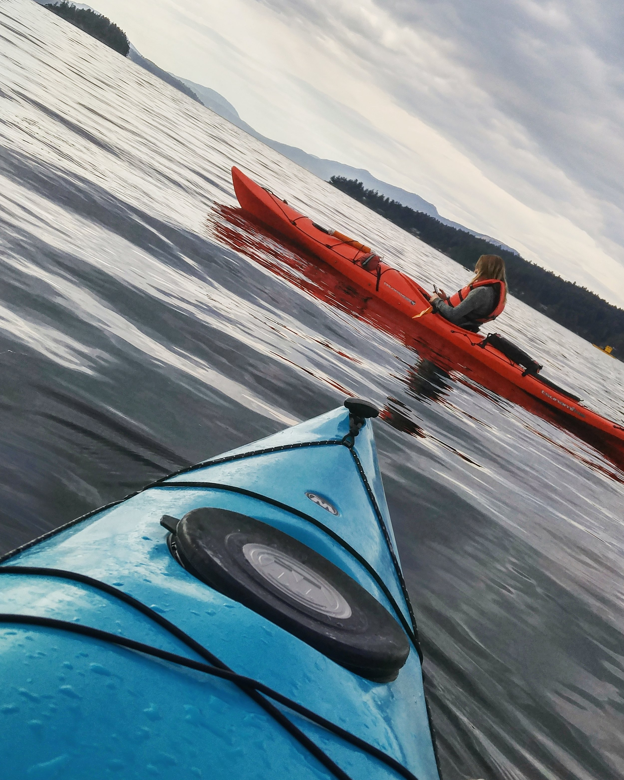 Out for a 'yak in Brentwood Bay. A fine way to spend an evening after work.