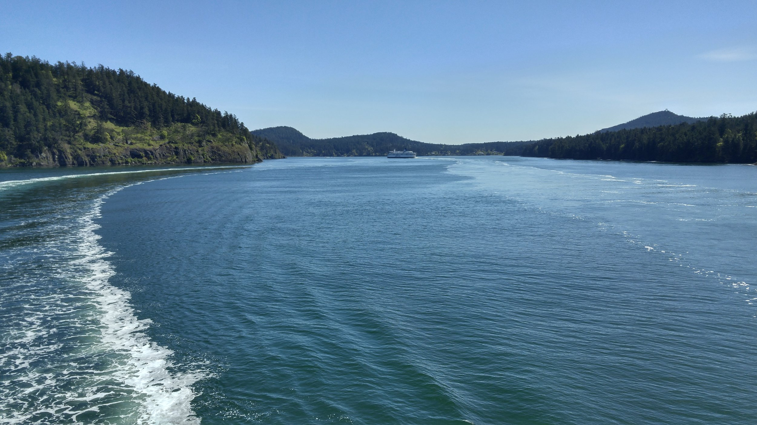 The view from the back of the BC Ferries