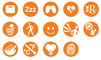 HelpMEwell icons for patient data logging app