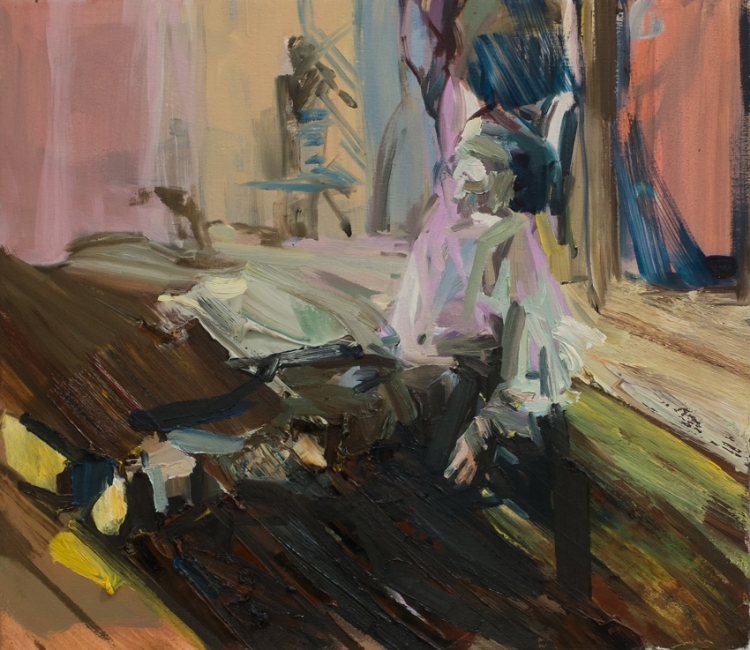Resting On The Floor,2015,oil on canvas,16in x 18