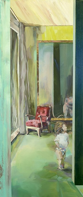 There, Between the Walls, 2016, acrylic and oil on canvas, 54in x 23in