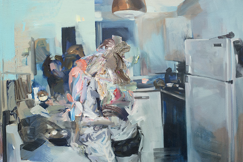 Kitchen, 2016, acrylic and oil on canvas, 16in x 24in
