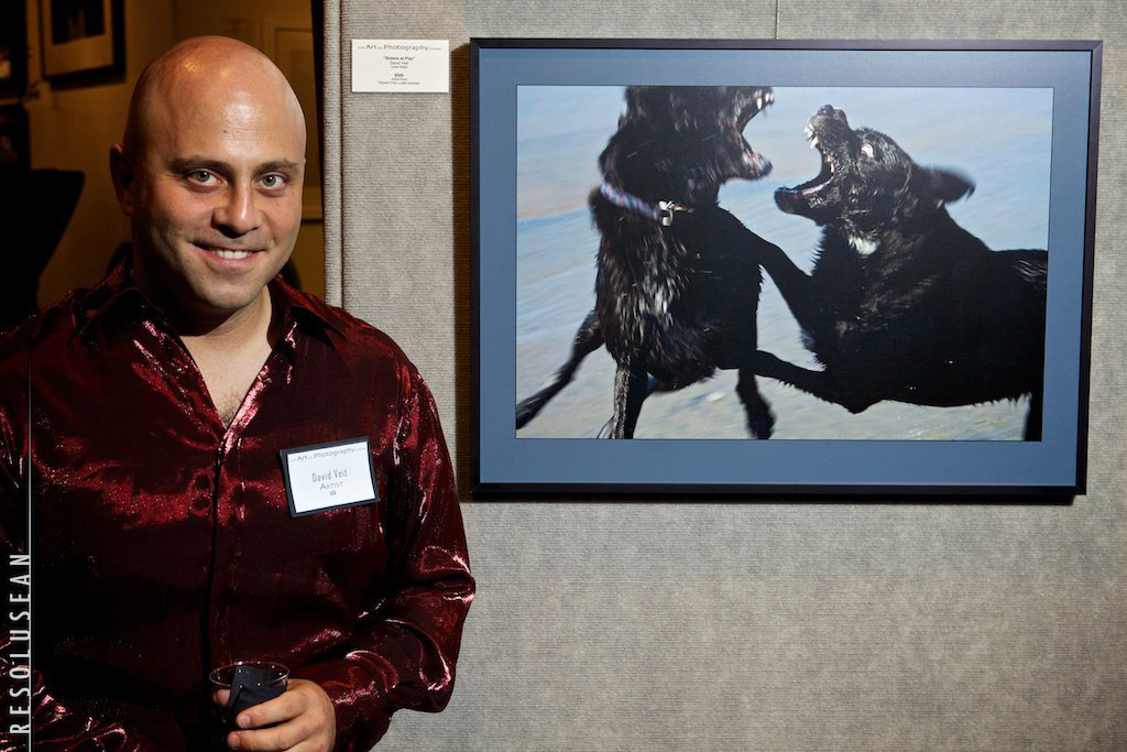 "Dave beside ""Sisters at Play"", Art of Photography Show 2011"