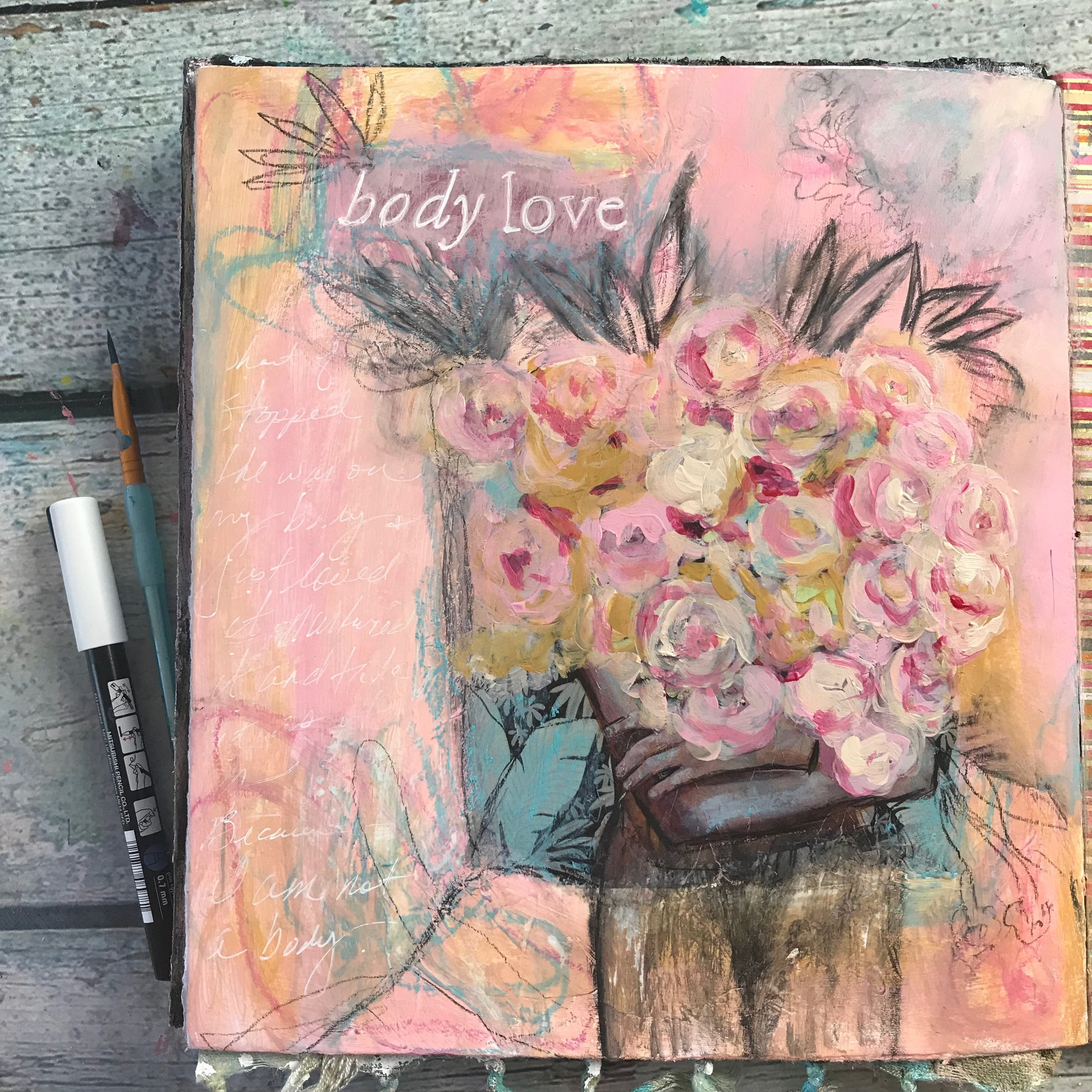 Body Love art journal page by Cheryl Sosnowski, Create Space Studio