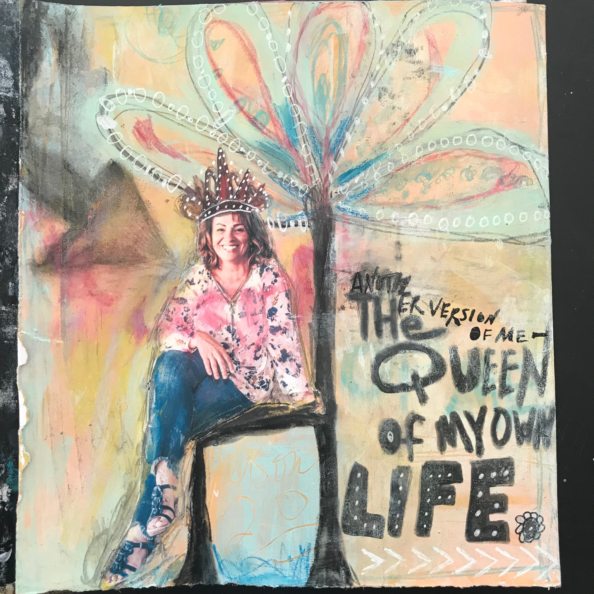 art journal project - another version of me - the Queen of my own life. art project at www.createspcestudio.com