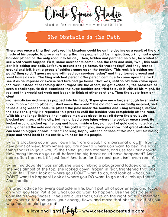 The Obstacle is the Path - weekly mindfulness lesson from createspacestudio.com