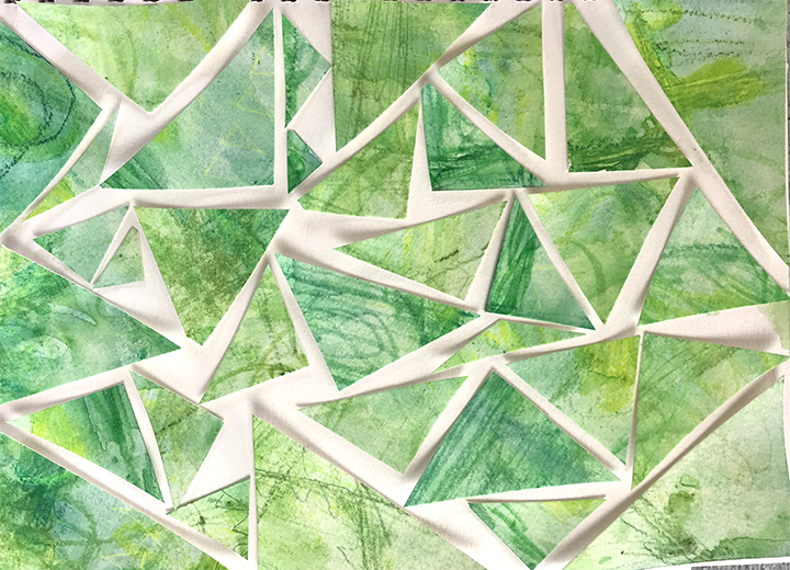 Green Collage made from green painting meditation paper.