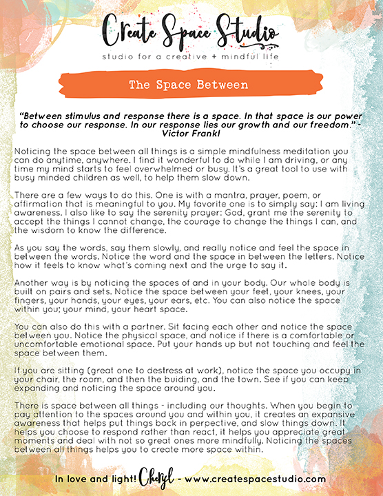 The Space Between - this week's mindfulness practice from CreateSpaceStudio.com