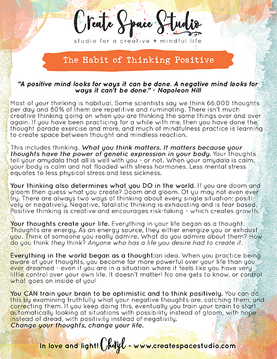 Can thinking positively become a habit? Yes it can! In this week's practice, catch those nasty thoughts and replace them with positive ones. Free weekly mindfulness practice at createspacestudio.com