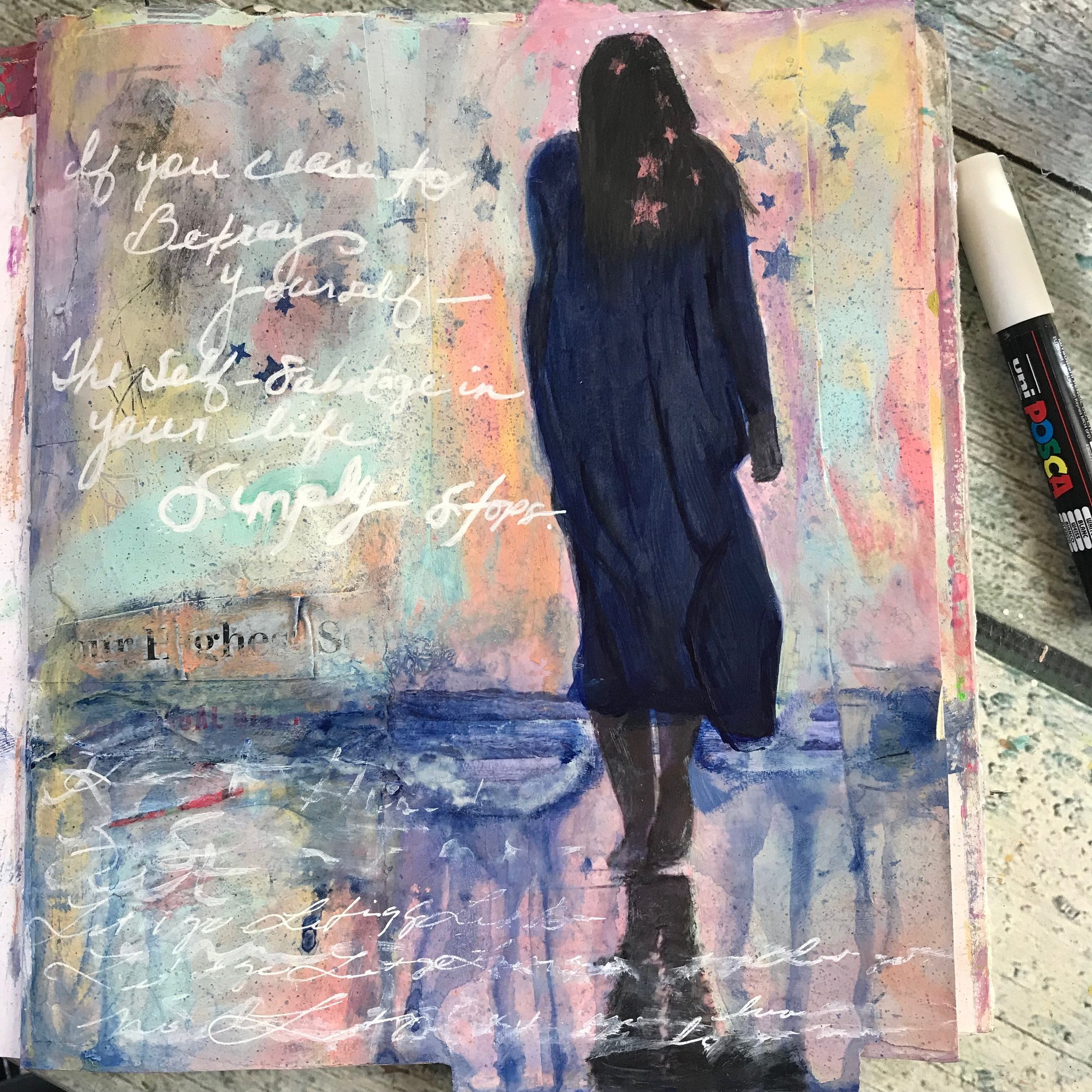 If you cease to betray yourself, the self sabotage in your life simply stops. A Human Design art journal by Cheryl Sosnowski createspacestudio.com