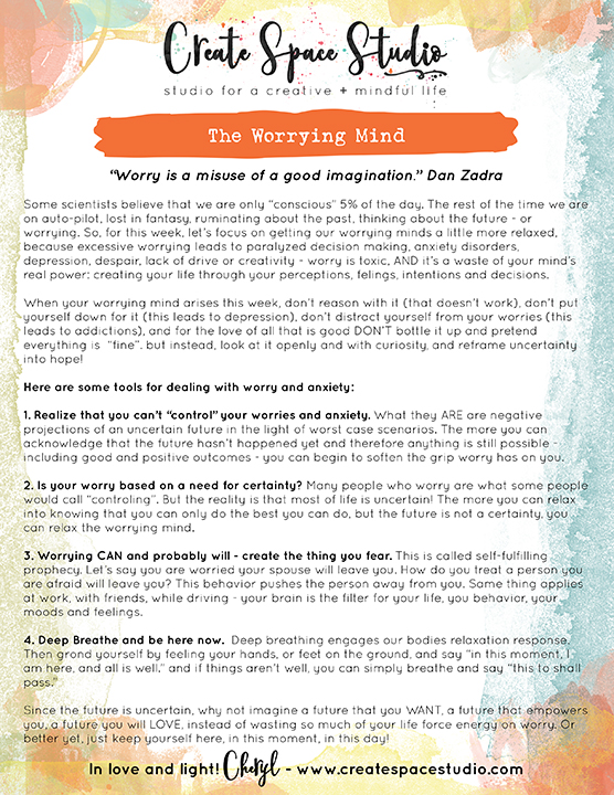 How to help your worrying mind - this week's mindfulness practice by Cheryl Sosnowski createspacestudio.com