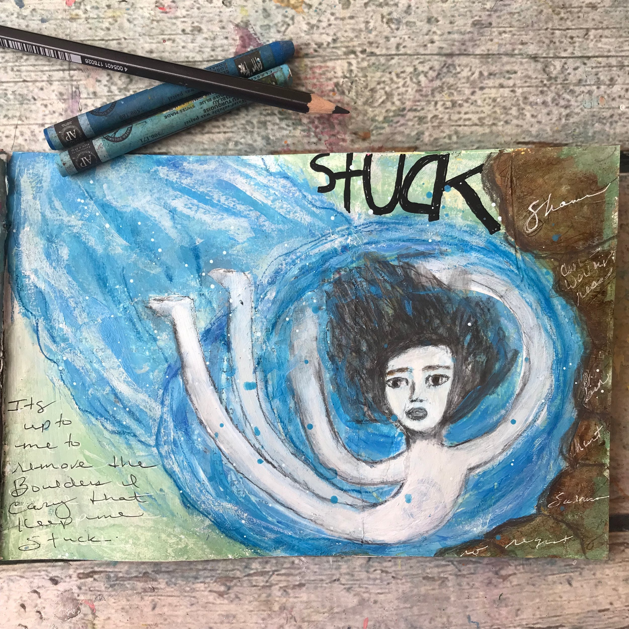 Where are you stuck? This week's Quantum Question from CreateSpaceStudio.com  - art journal page by Cheryl Sosnowski