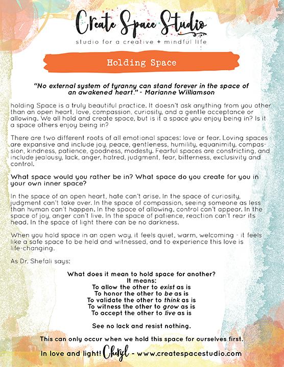 Holding Space - this week's mindfulness practice from Cheryl Sosnowski createspacecstudio.com