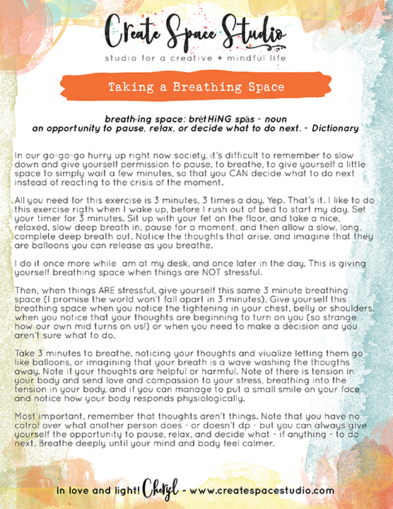 Taking a Breathing Space - this week's mindfulness practice with Cheryl Sosnowski of createspacestudio.com