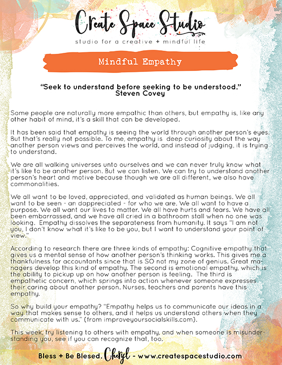 Mindful Empathy - this week's mindfulness practice at createspacestudio.com