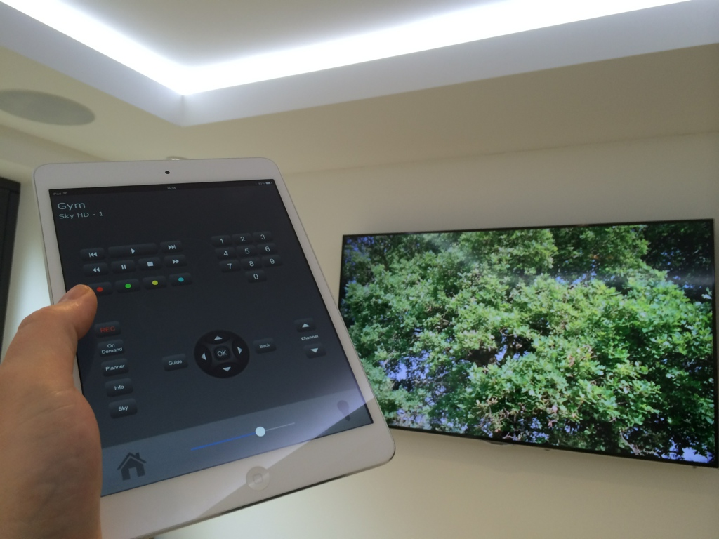 Whole home control from an iPad including multi room TV and lighting