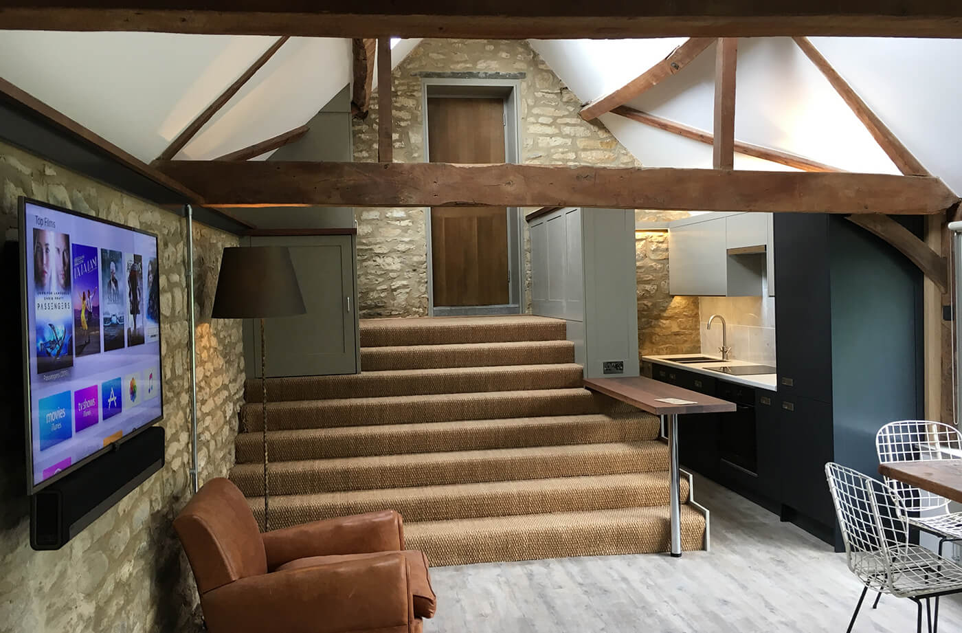 Audio Visual  - As well as having seamless WiFi throughout the property has modern TVs and Sonos multi room audio system so they can enjoy watching TV and listening to music throughout.The elegant installation and high quality components give a great audio visual experience whist being incredibly easy to use.