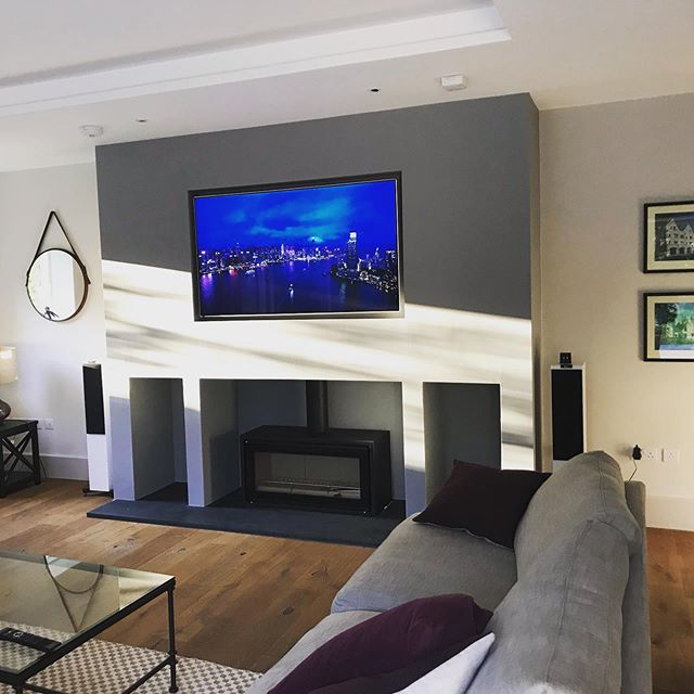 """Last week we fitted this stunning 65"""" OLED TV in a customers drawing room in #Oxfordshire. KEF floor standing speakers driven by a Yamaha AVR. Sky Q and Apple TV distributed from a system rack in the basement. Easy to use remote control with one press switch on. No more remotes scattered on your coffee table. Get in touch for a demo. Great work team! 😍🙌 #oled #kef #Yamaha #oxfordshire #drawingroom #skyq #appletv #rtiremote"""