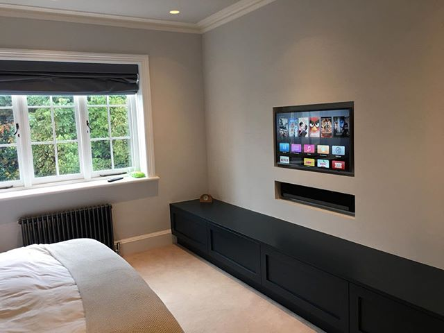 Project in Wimbledon. Custom install Master Bedroom. Samsung TV, Sonos Playbar and Apple TV.